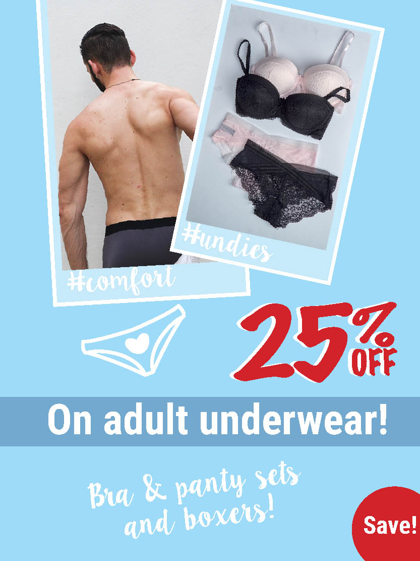 25% off on adult underwear!
