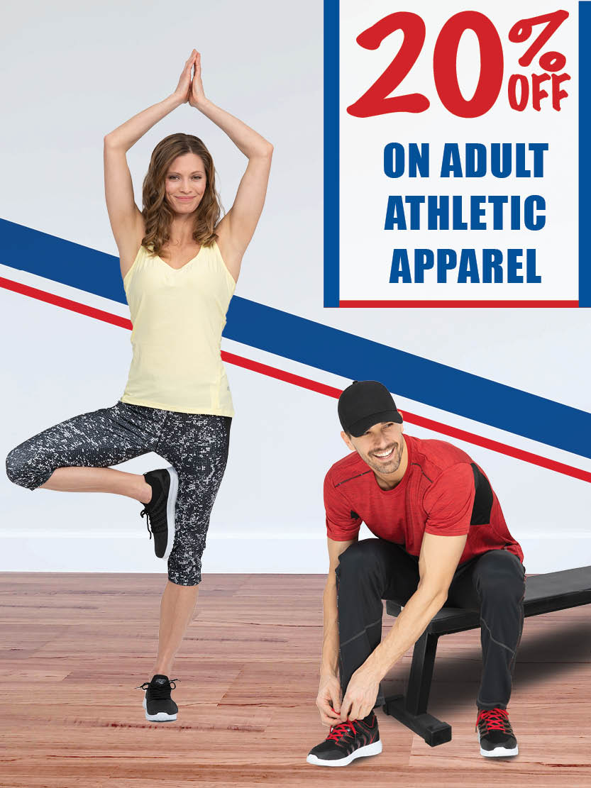 20% off on adult athletic apparel!