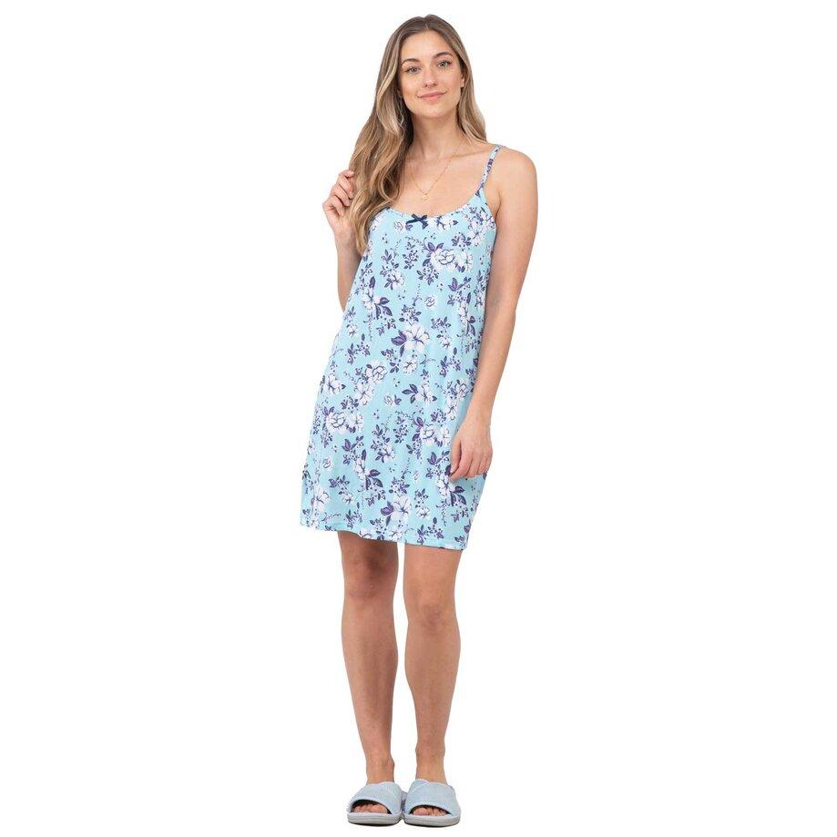 Women's slip nightgown, aqua floral, medium (M)
