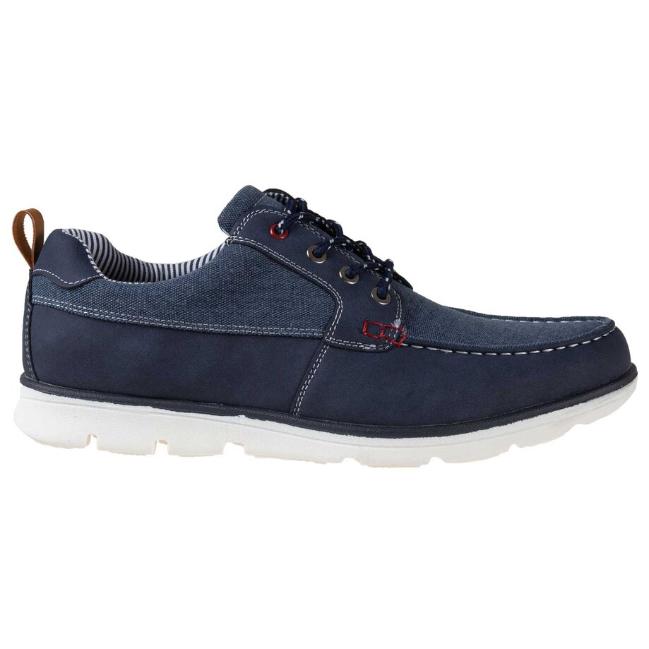 Men's moc toe, slip on/lace up boat shoes, size 10