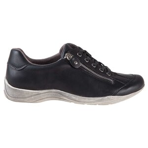 Women's round toe lace-up sports shoes with zipper detail and di