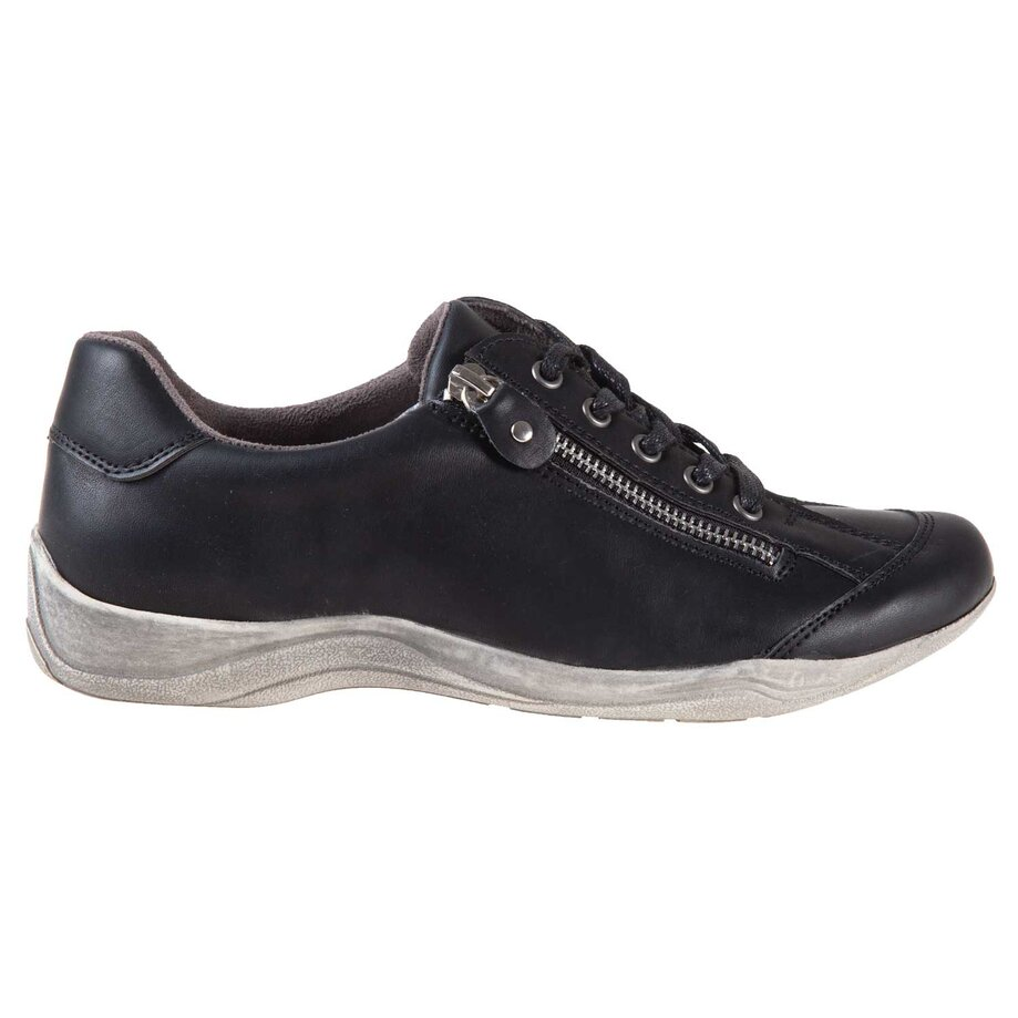 Women's round toe lace-up sports shoes with zipper detail and distressed sole, size 9
