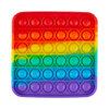 Silicone bubble popper fidget toy, square rainbow - 2