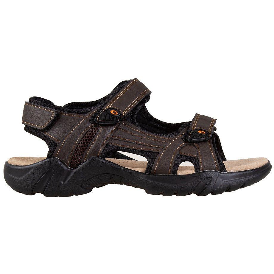 Gardella - Men's adjustable, triple velcro strap, sport sandals, brown, size 9