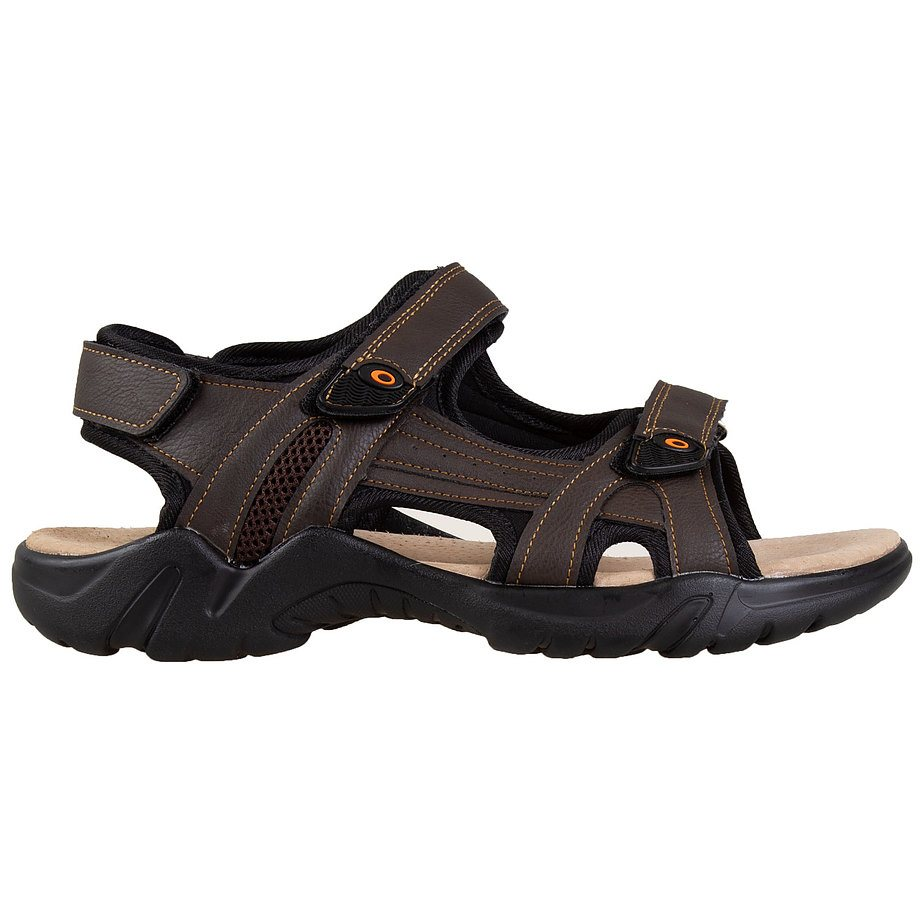 Gardella - Men's adjustable, triple velcro strap, sport sandals, brown, size 12