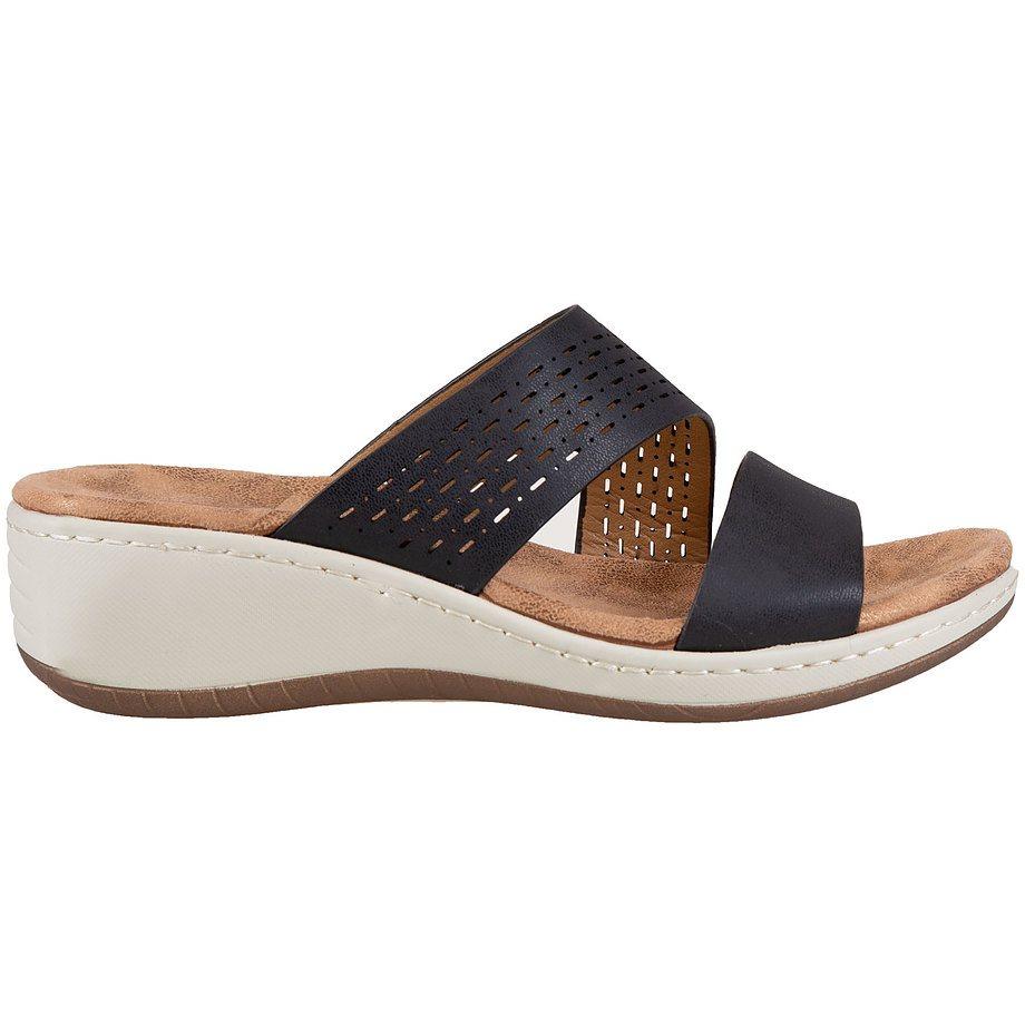 Soft Comfort - Sandales compensées à enfiler pour femmes, noir, taille 7