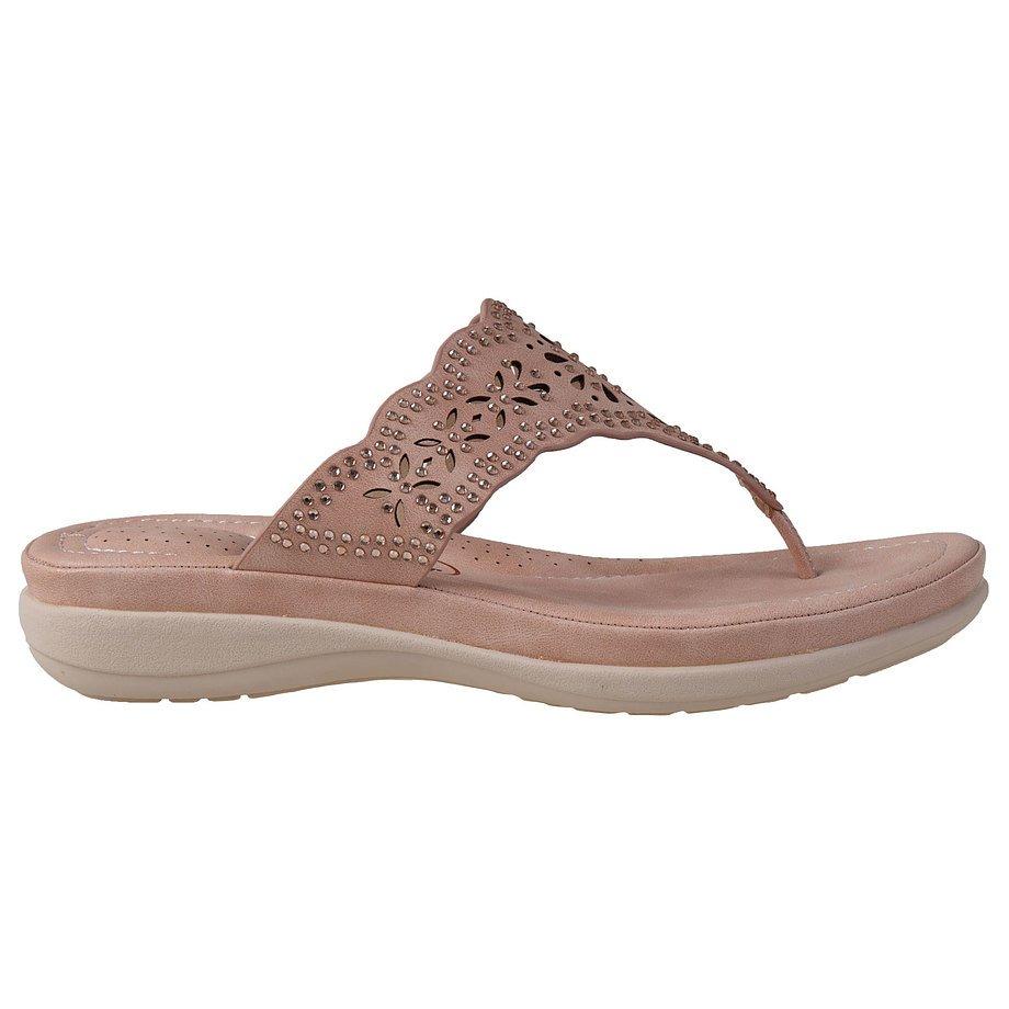 Soft Comfort - Sandale à tongs, perforées, pour femmes avec détails de bijoux, rose, taille 9
