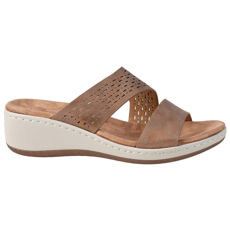 Soft Comfort - Women's wedge slip-on sandal, bronze, size 5                                                                                                                                             Distressed PU with metallic finish