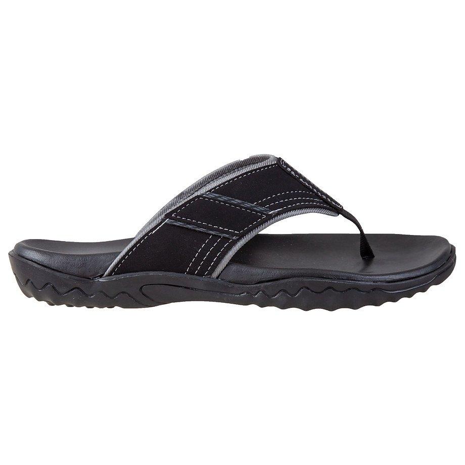 Gardella - Men's contrast stitch flip flop sandals , black, size 11