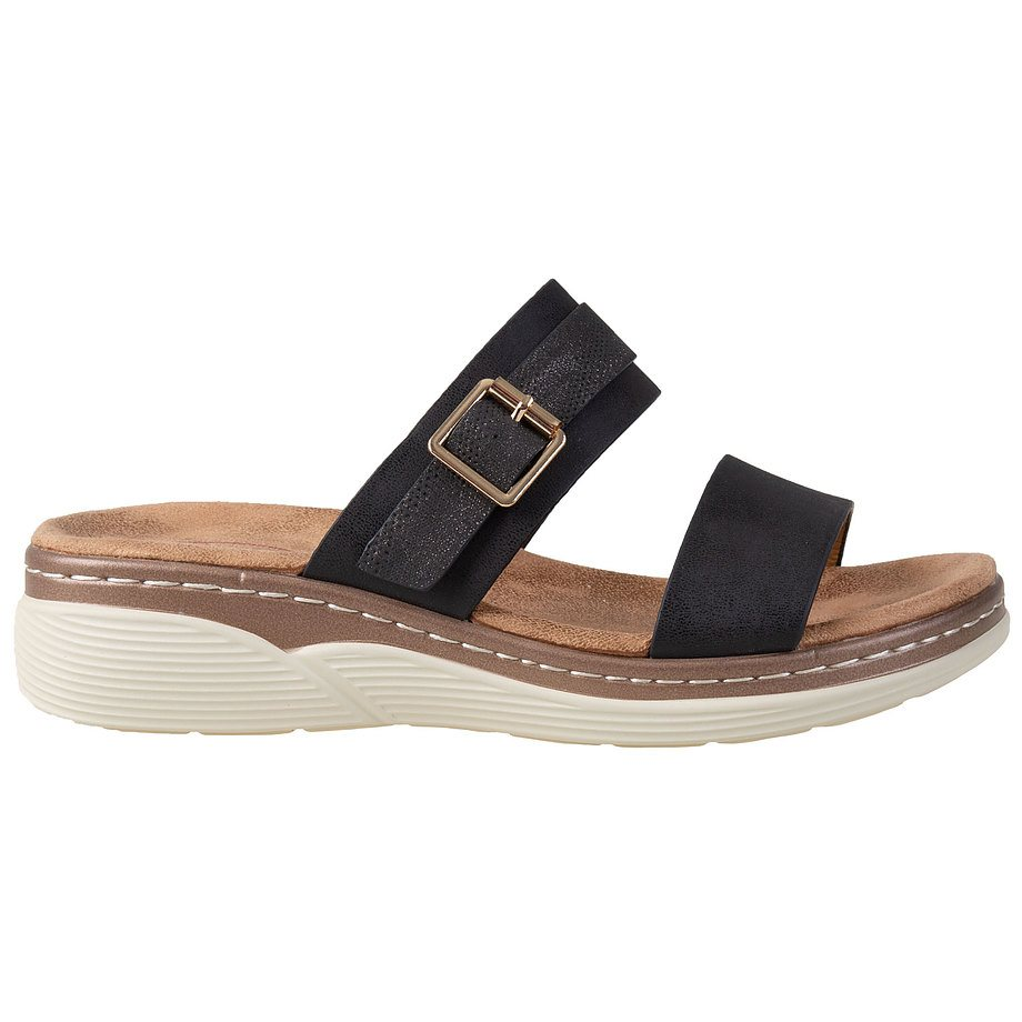 Soft Comfort - Women's wedge slip-on sandal with buckle detail, black, size 5