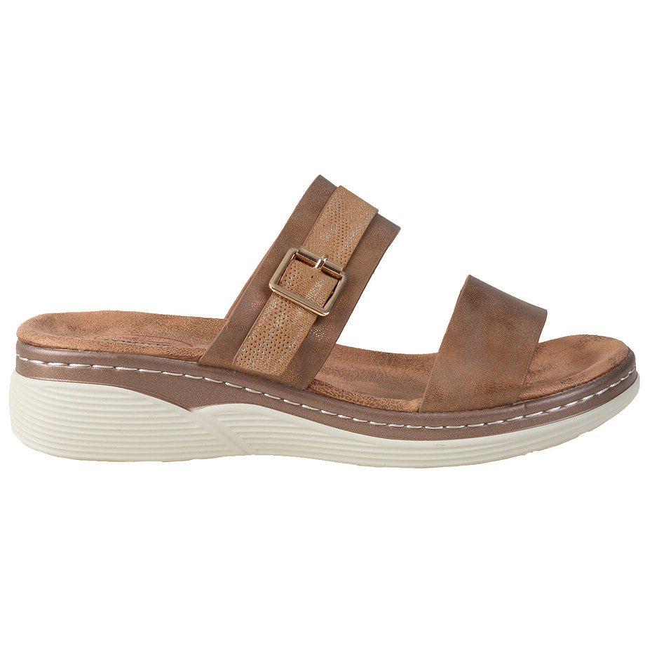 Soft Comfort - Sandales compensées à enfiler avec un détail de boucle pour femmes, bronze, taille 7