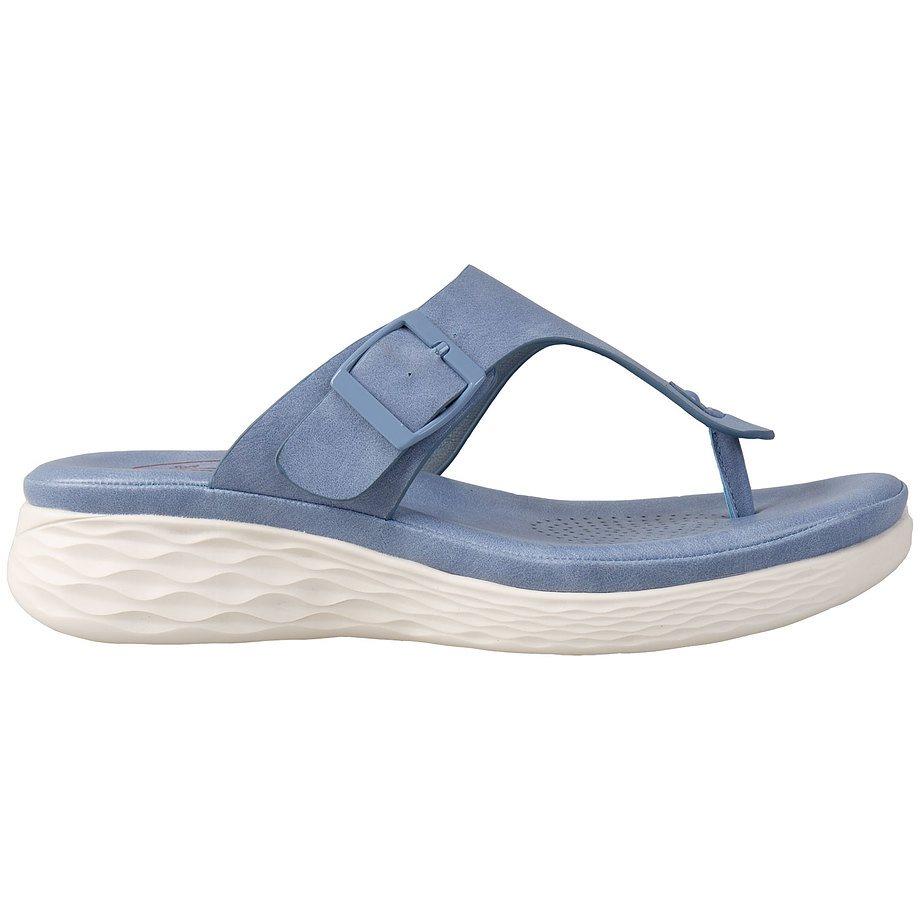Soft Comfort - Tongs à enfiler confort pour femmes, bleu, taille 7