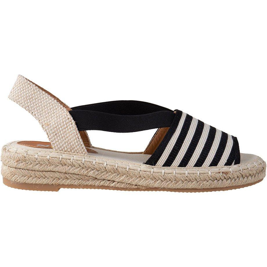 NYC - Canvas slingback espadrille sandals, beige/black stripes, size 6