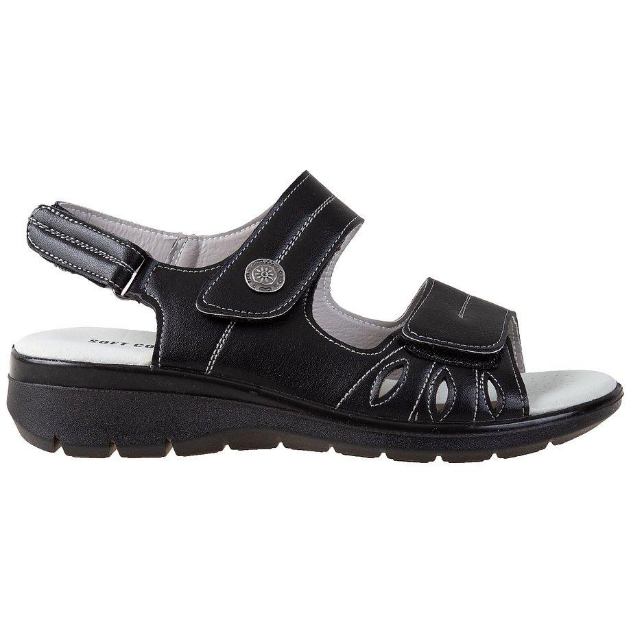 Soft Comfort - Women's adjustable, triple velcro straps, comfort sandals, black, size 9