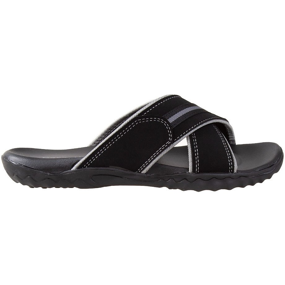 Gardella - Men's contrast stitch, criss-cross, slip-on sandals, black, size 10