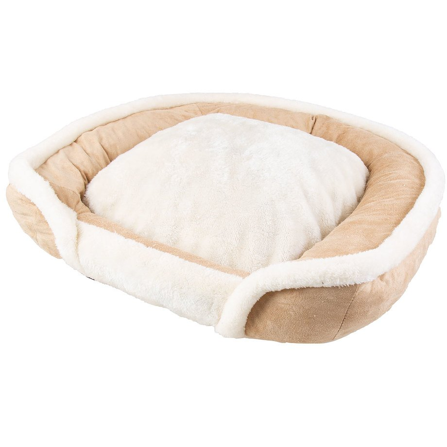 Faux suede, square pet bed with memory foam,medium, tan & white