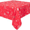 """Elegance Collection, Christmas holiday fabric tablecloth, foil printed snowflakes and swirls, 54""""x72"""", red"""