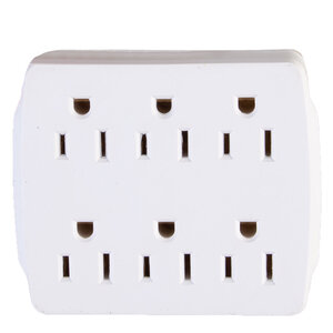 elink - Grounded multi wall tap, 6 outlets
