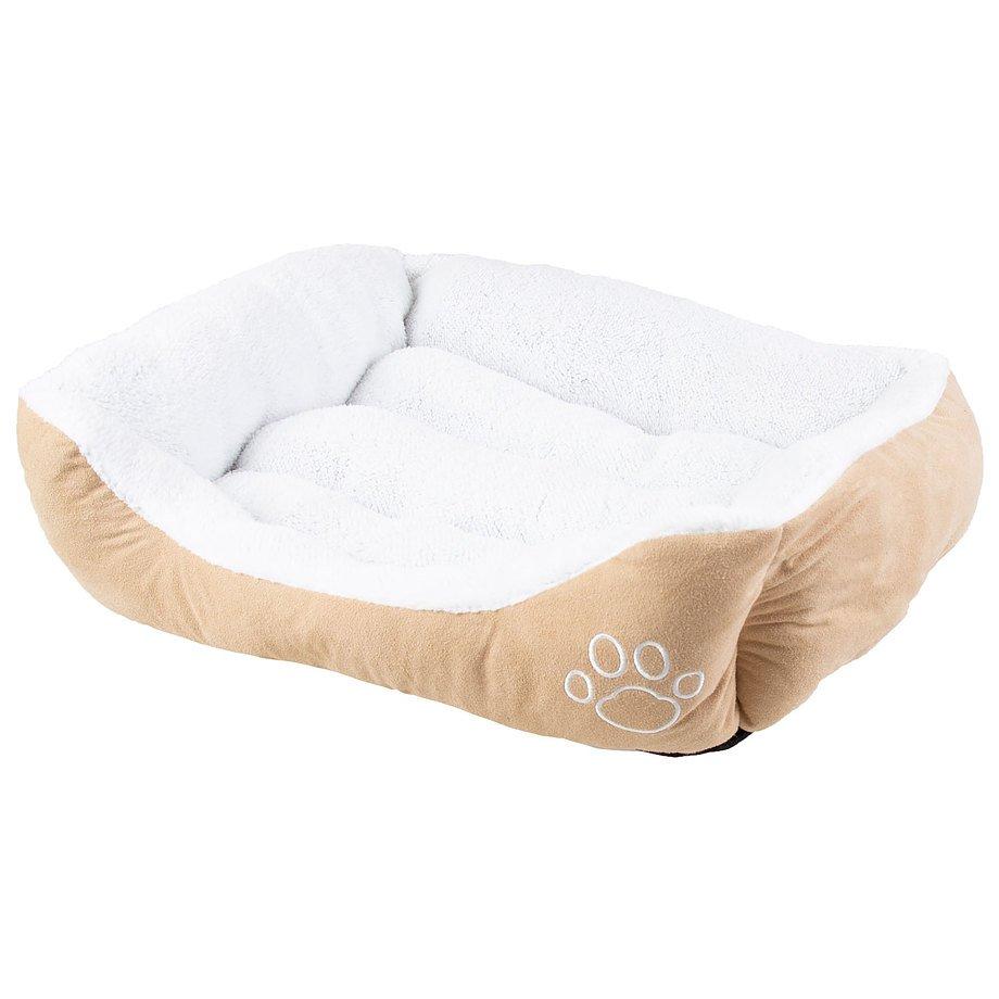 Faux suède, lit rectangulaire pour animaux, moyen, beige et blanc