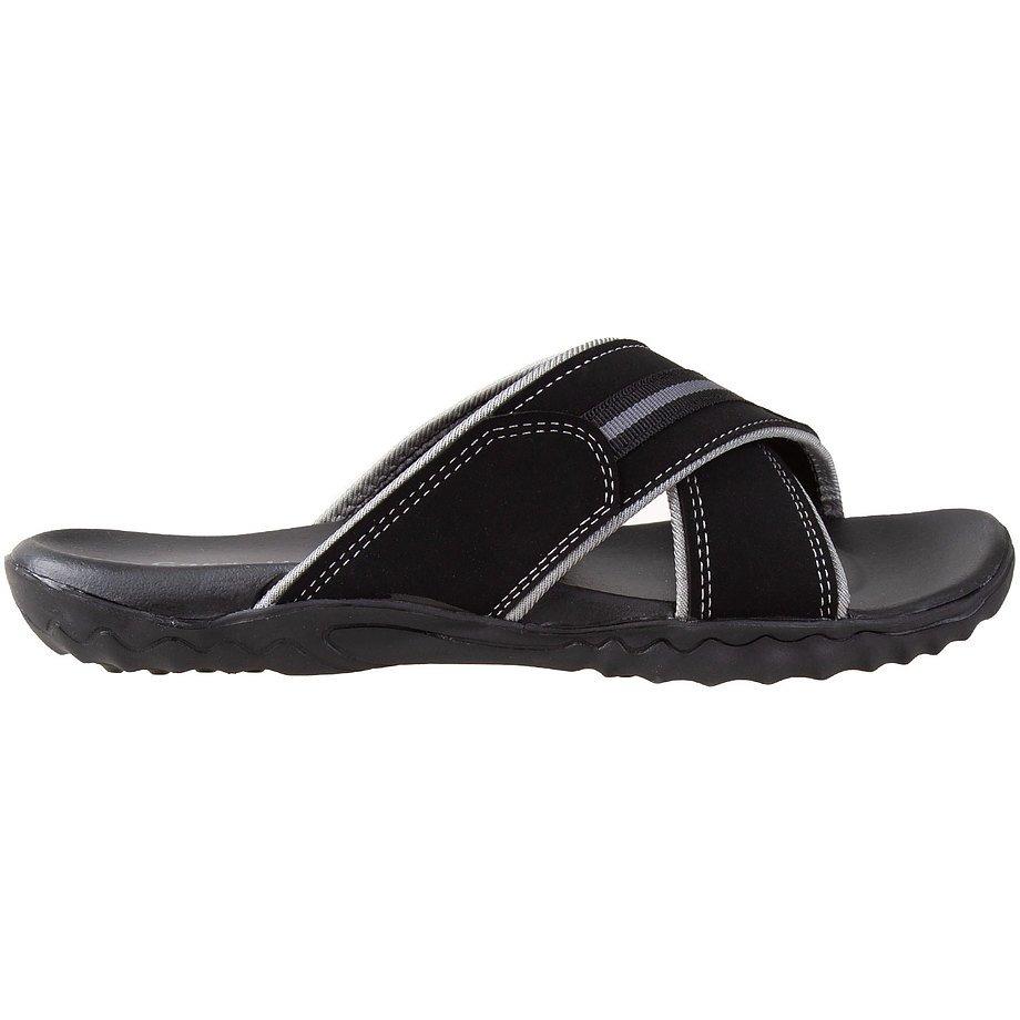 Gardella - Sandales à enfiler, croisées à coutures contrastées pour hommes, noir, taille 10