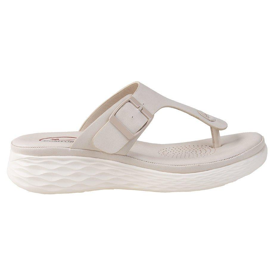 Soft Comfort - Tongs à enfiler confort pour femmes, beige, taille 5