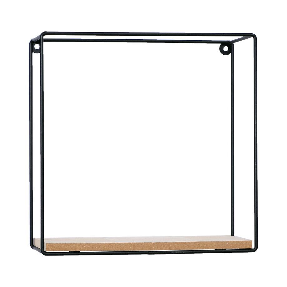 Square, metal and wood wall shelf