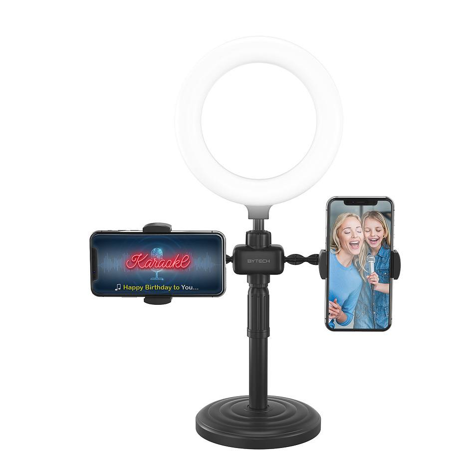 Tech Bits Bytech - Universal vlog kit with 2 phone holders and selfie ring