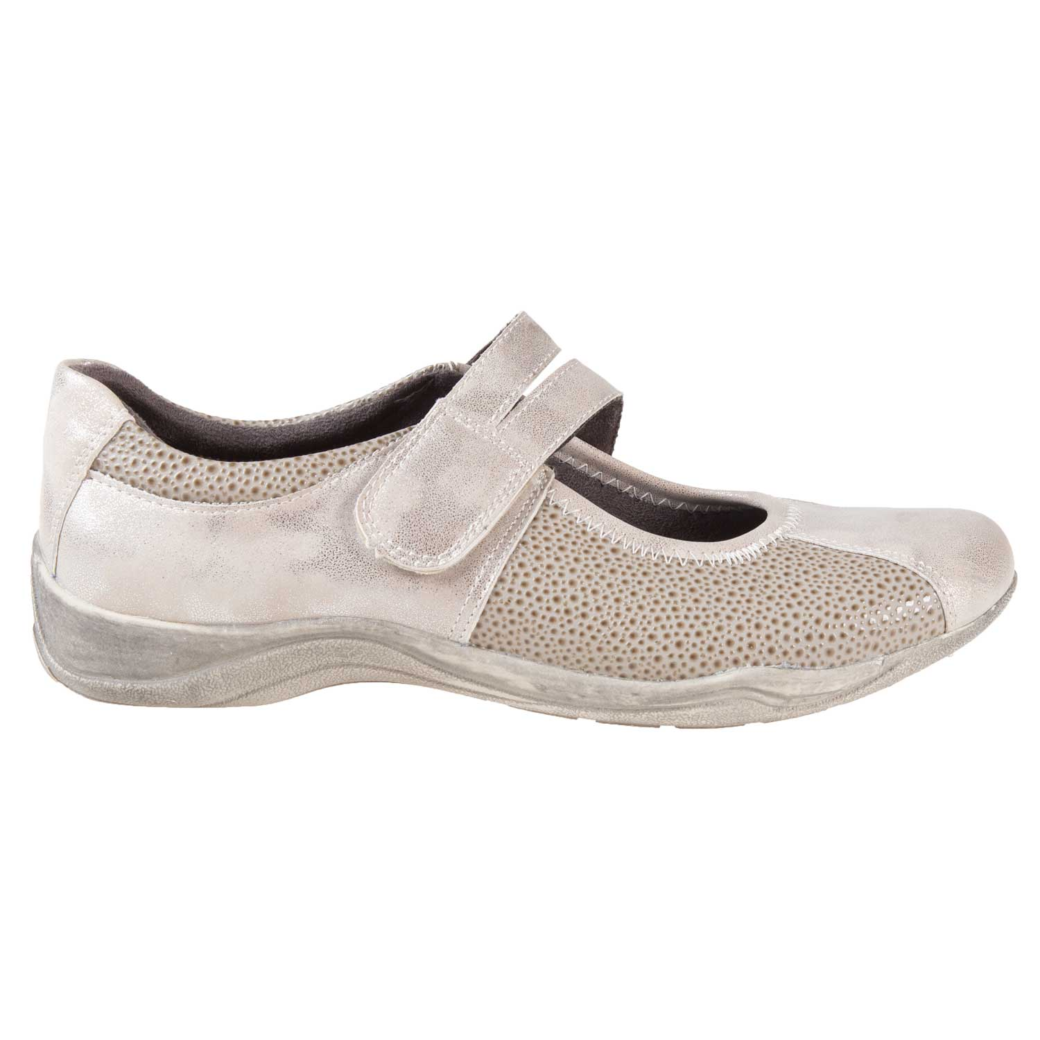 Women's round toe slip-on sports shoes with velcro closure, size 10